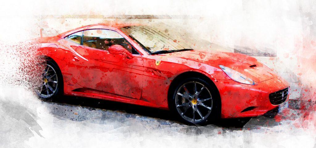 Ferrari watercolour painting