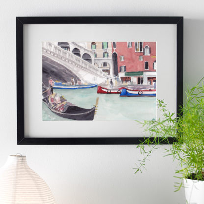 Watercolour painting of Venetian Gondola framed in black over desk