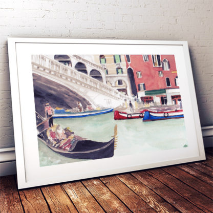 Watercolour painting of Venetian Gondola framed in white on floorboards