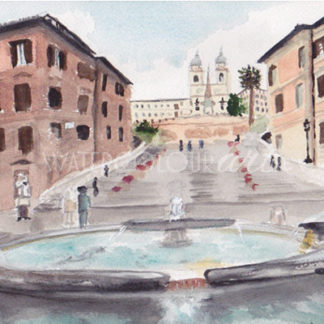 Watercolour painting of Spanish Steps