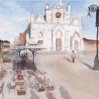 Watercolour painting of Basilica di Santa Croce
