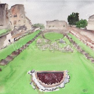 Watercolour painting of Domitian Stadium