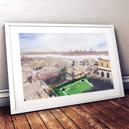Framed Room Genoa Landscape painting in watercolor