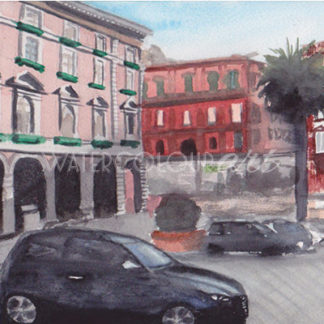 Watercolour painting of Naples Piazza