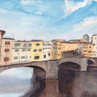 Watercolour painting of Ponte Vecchio
