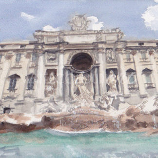 Watercolour painting of Trevi fountain