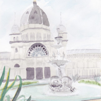 Watercolour painting of fountain at exhibition buildings in Melbourne