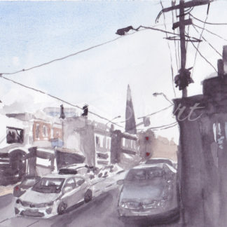 Watercolour painting of busy street