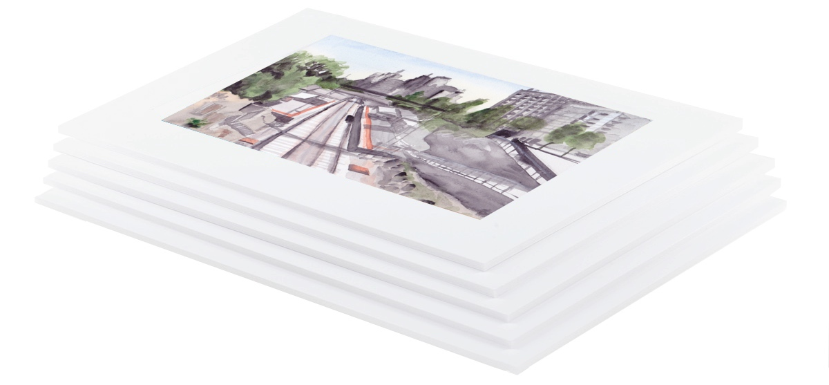 Watercolour painting of Jolimont Station mounted in white