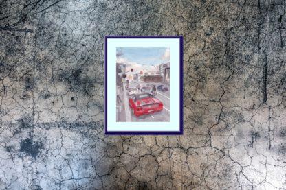 Ferrari Convertible Wall Blue Gritty