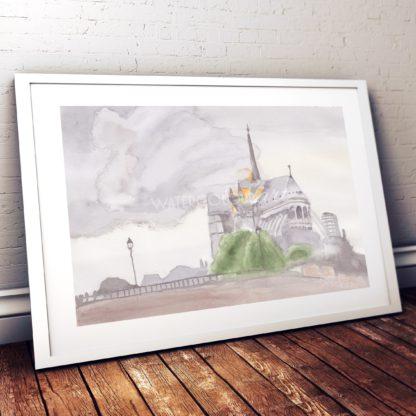 Fire Of Notre Dame Studio Photo Frame White