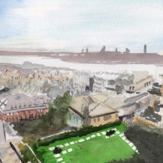 Genoa Rooftops Landscape Painting In Watercolor