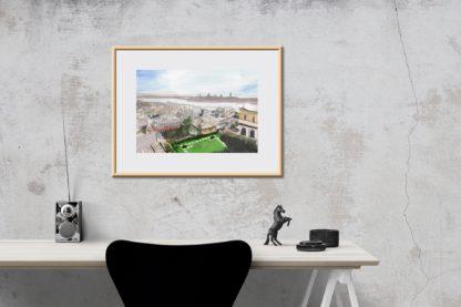 Desk Horse Genoa Genoa Rooftops Landscape Painting In Watercolor